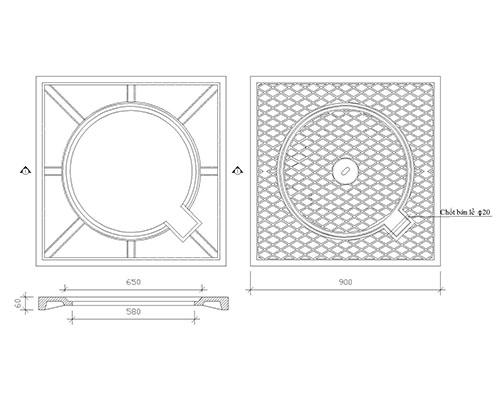 Nắp hố ga khung dương bằng composite